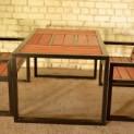 Lauko baldai iš ąžuolo masyvo ir plieno